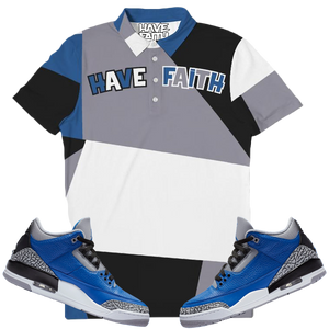 Have Faith (Blue Cement Retro 3's) Slim Fit Short Sleeve Polo - Shop Men, Women, Kids clothing and accessories To Match Your Kicks online