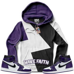 Multi-Color Have Faith (Court Purple Retro 1's) Hoodie - Shop Men, Women, Kids clothing and accessories To Match Your Kicks online