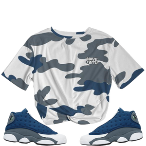 Have Faith Camo (Flint Retro 13's) Women's Twist-Front Cropped Tee - HaveFaithClothingCo