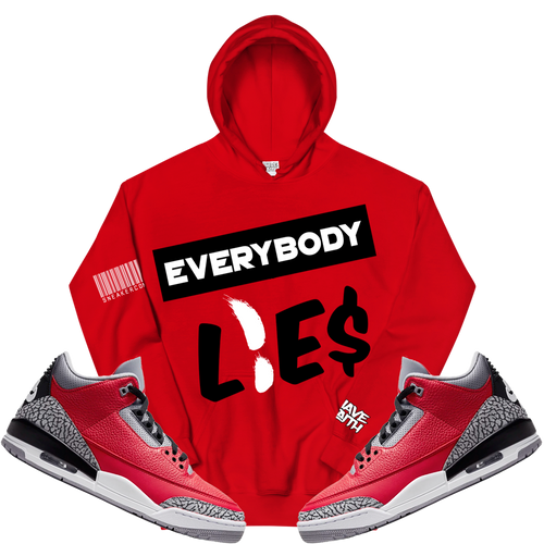 Everybody Lies (Red Cement Retro 3's) Hoodie - HaveFaithClothingCo
