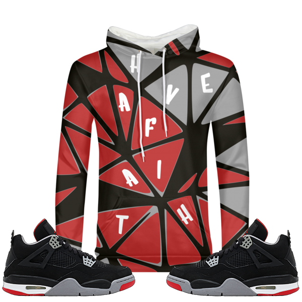 Connect The Pieces (Bred 4's) Hoodie - HaveFaithClothingCo