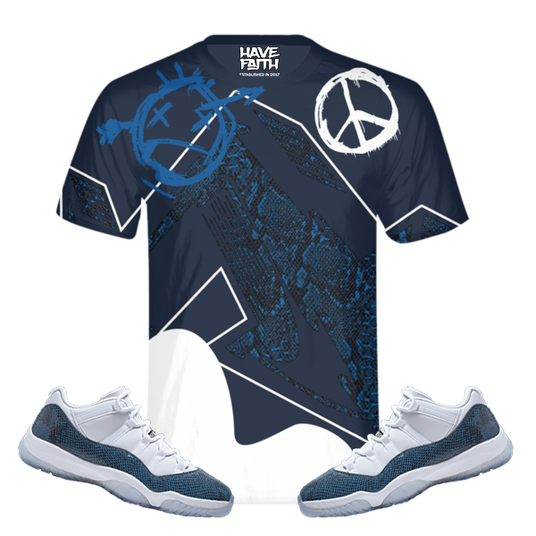 Twisted Faith (SnakeSkin Navy 11's) T-Shirt - HaveFaithClothingCo