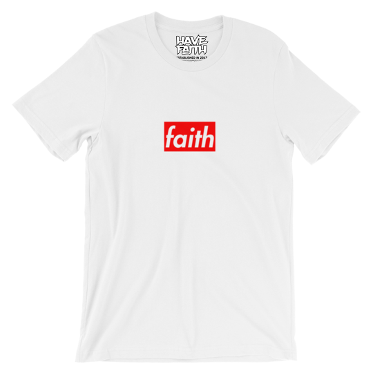 Faith Box Logo (Varsity Red Uptempo) T-Shirt - HaveFaithClothingCo
