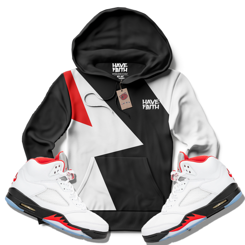 Have Faith (Fire Red Retro 5's) Hoodie - HaveFaithClothingCo