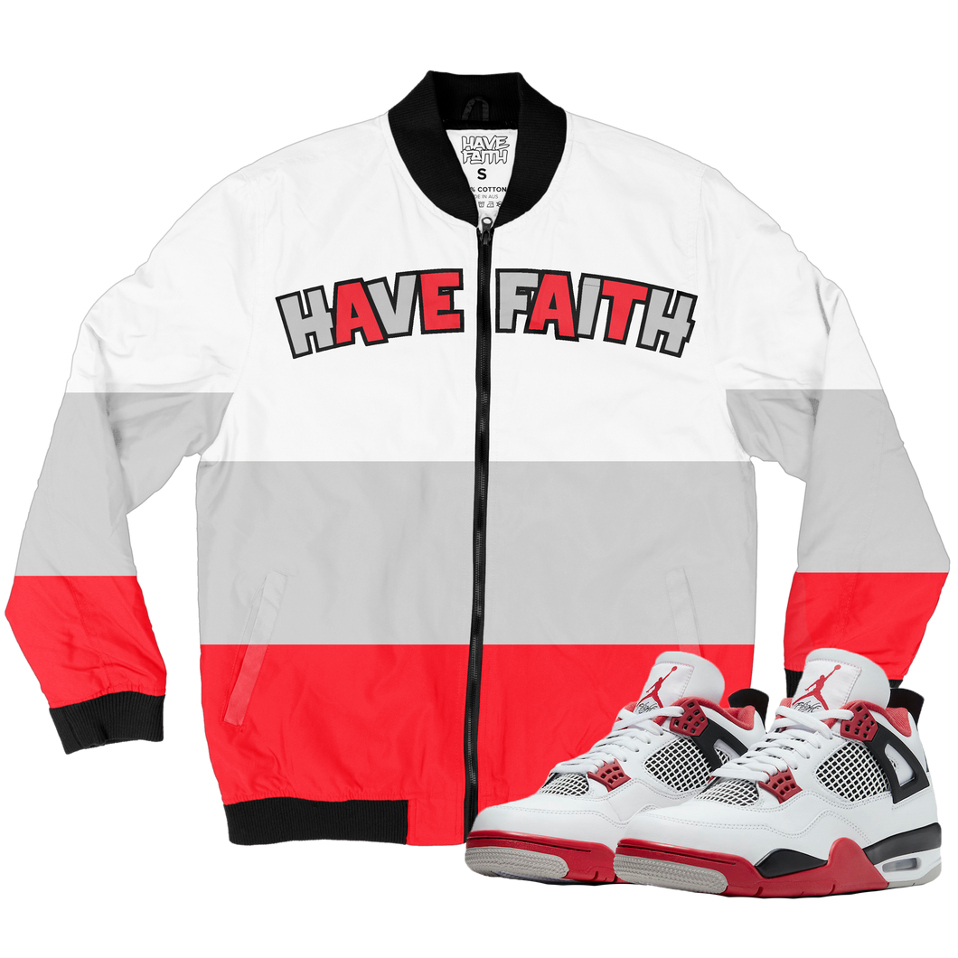 Have Faith (Fire Red 4's) Bomber Jacket - HaveFaithClothingCo