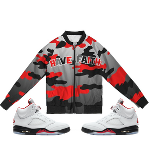 Have Faith (Fire Red Retro 5's) Bomber Jacket - HaveFaithClothingCo