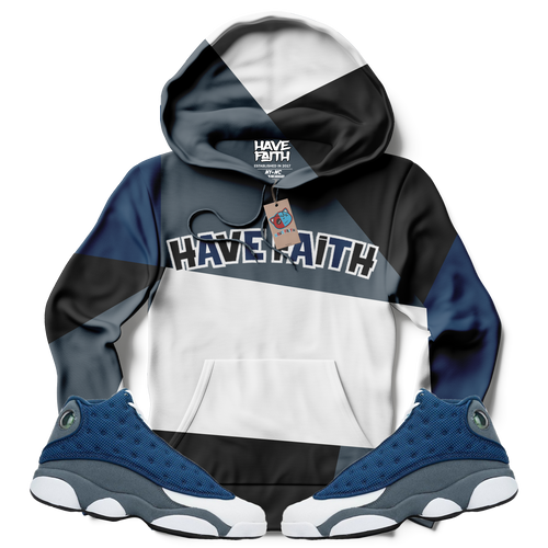 Have Faith Colorblock (Flint Retro 13's) Kids Hoodie - HaveFaithClothingCo