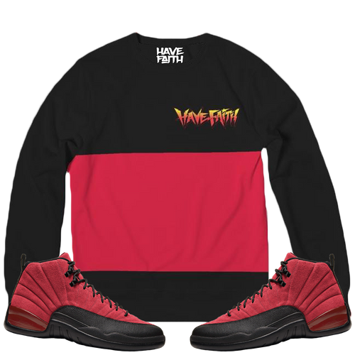 HF Stripe (Reverse Flu Game Retro 12's) Classic French Terry Crewneck Pullover - HaveFaithClothingCo