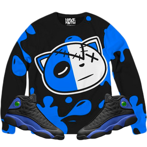 HF Splash (Black Hyper Royal Retro 13's) Classic French Terry Crewneck Pullover - Shop Men, Women, Kids clothing and accessories To Match Your Kicks online