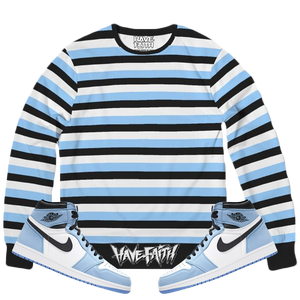 HF Stripe (Unc Retro 1's) French Terry Crewneck Pullover - Shop Men, Women, Kids clothing and accessories To Match Your Kicks online