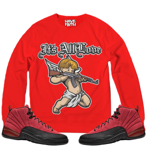 It's All Love (Reverse Flu Game Retro 12's) Classic French Terry Crewneck Pullover - Shop Men, Women, Kids clothing and accessories To Match Your Kicks online