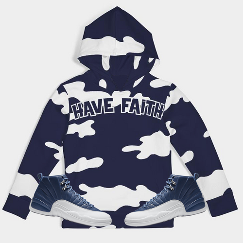 Have Faith Camo (Indigo Stone Blue Retro 12's) Kids Hoodie - HaveFaithClothingCo
