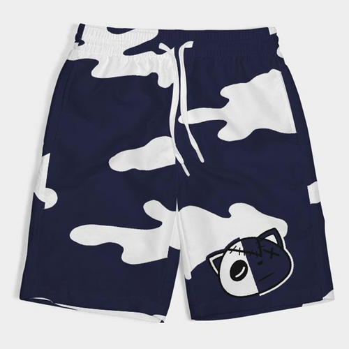 Have Faith Camo (Indigo Stone Blue Retro 12's) Kids Swim Trunks - HaveFaithClothingCo
