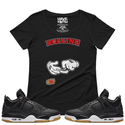 Rolling (Black Laser 4's) Ladies' Scoopneck T-Shirt - HaveFaithClothingCo