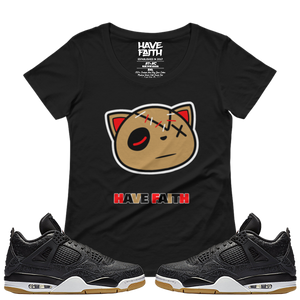 Have Faith (Black Laser 4's) Ladies' Scoopneck T-Shirt - HaveFaithClothingCo