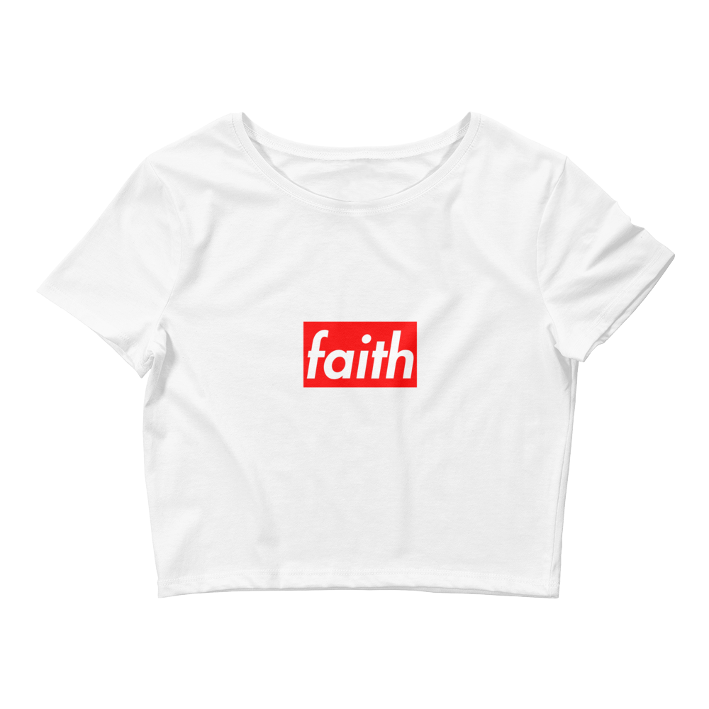Faith Box Logo (Varsity Red Uptempo) Women's Crop Top - HaveFaithClothingCo