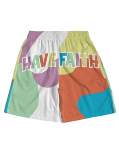 Have Faith (Multi Color Retro 1's) Jogger Shorts - HaveFaithClothingCo