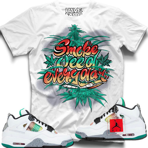 Smoke Weed Everyday (Rasta Retro 4's) T-Shirt - HaveFaithClothingCo