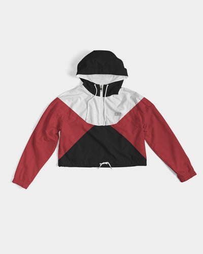 Have Faith (Red Cement Retro 3's) Women's Cropped Windbreaker - HaveFaithClothingCo