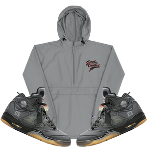 Sneaker Combos (Off-White x Air Jordan 5) Embroidered Champion Packable Jacket - HaveFaithClothingCo