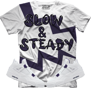 Slow & Steady (Metallic Purple Retro 4's) T-Shirt - Shop Men, Women, Kids clothing and accessories To Match Your Kicks online