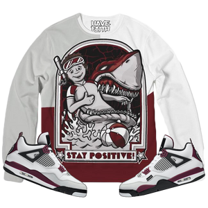 Stay Positive (PSG Retro 4's) French Terry Crewneck Pullover - Shop Men, Women, Kids clothing and accessories To Match Your Kicks online