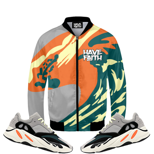 The Wave God (Adidas Yeezy Boost 700 Wave Runner) Bomber Jacket - HaveFaithClothingCo