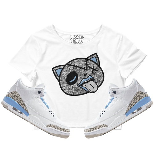 Tounge Out (UNC Retro 3's) Crop Top - Shop Men, Women, Kids clothing and accessories To Match Your Kicks online