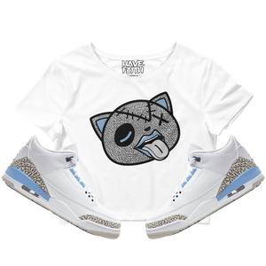 Tounge Out (UNC Retro 3's) Crop Top - HaveFaithClothingCo