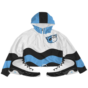 HF Wave (UNC Retro 9's) Women's Cropped Windbreaker - Shop Men, Women, Kids clothing and accessories To Match Your Kicks online