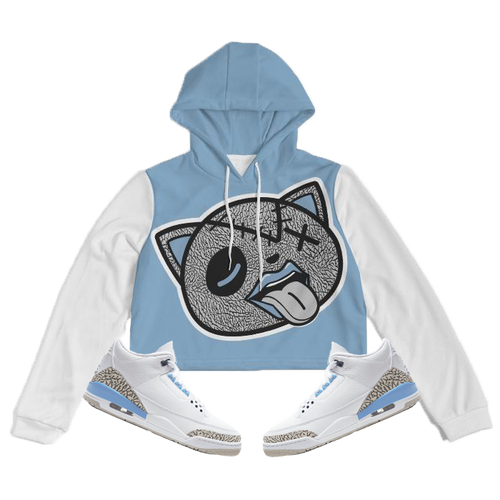 Tounge Out (UNC Retro 3's) Women's Cropped Hoodie - HaveFaithClothingCo