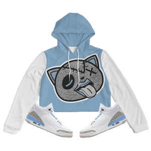 Tounge Out (UNC Retro 3's) Women's Cropped Hoodie - Shop Men, Women, Kids clothing and accessories To Match Your Kicks online