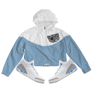 Tounge Out (UNC Retro 3's) Women's Cropped Windbreaker - Shop Men, Women, Kids clothing and accessories To Match Your Kicks online
