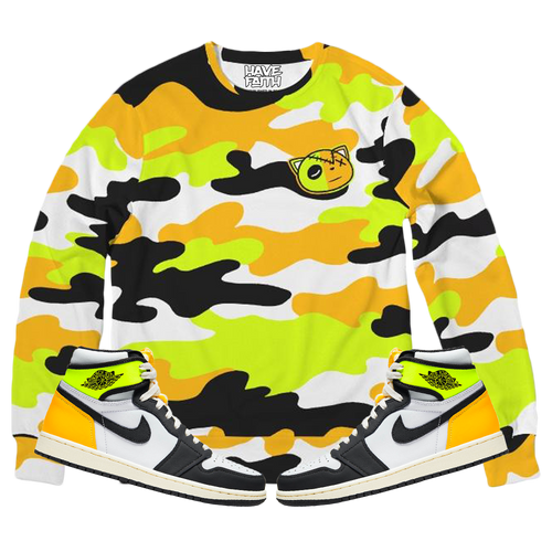 HF Camo (Volt Gold Retro 1's) Classic French Terry Crewneck Pullover - Shop Men, Women, Kids clothing and accessories To Match Your Kicks online