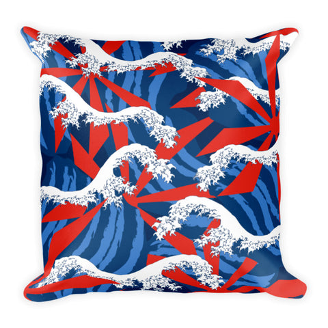 Japanese Wave Square Pillow