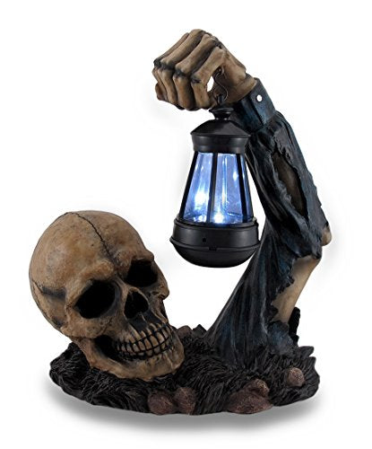 Resin Outdoor Figurine Lights Hh39829 Sinister Skull Holding Led Solar Lantern Outdoor Decoration 10.5 X 12.5 X 6 Inches Black