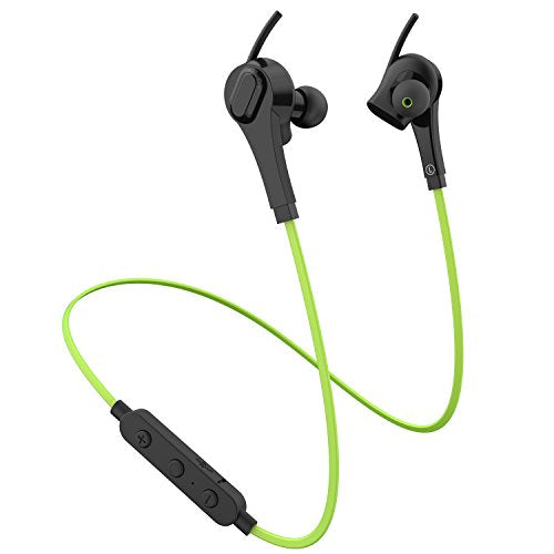 YiLuxr Bluetooth Headphone, Wireless Headphone, Noise Cancelling Bluetooth Earbuds, Waterproof HD Stereo Earphones 5-Hour Battery Wireless Headset Fit for Gym Sports Running with Built-in Mic (Green)