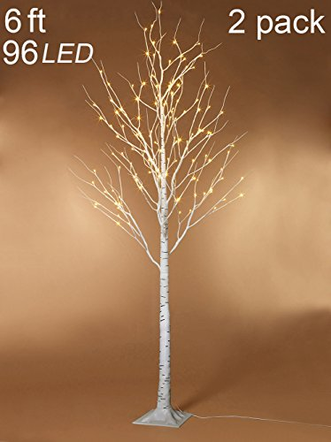Twinkle Star 6 Feet 96 LED Lighted Birch Tree for Home Wedding Party Indoor Outdoor, 2 Pack, Warm White