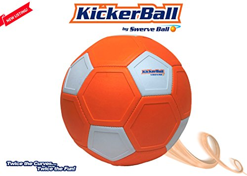 Kickerball - Indoor and Outdoor Adult and Kids Curving, Swerving Game and Match Ball, Exercise, FIFA World Cup, MLS, EUFA, Sports Practice Soccer Ball with Pump