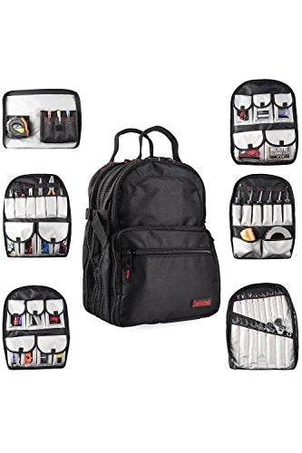 Tradesman Tool Storage Organizer Backpack: Heavy Duty Jobsite Bag with 50+ Pockets for Multiple Tools - Tool Box Backpacks for an Electrician, HVAC Contractor, Carpenter or Construction Work - Black