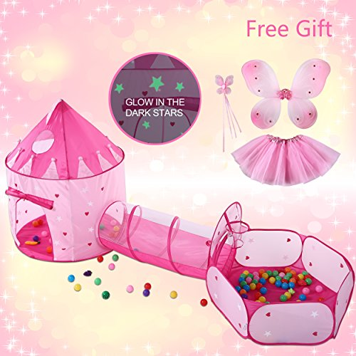 3pc Kids Princess Play Tent Crawl Tunnel and Ball Pit Pop Up Kids Playhouse Indoor/Outdoor Use,BONUS Butterfly Fairy Tutu Dress Up Costume Set Great Present for Girls(Stars Glow In the Dark)