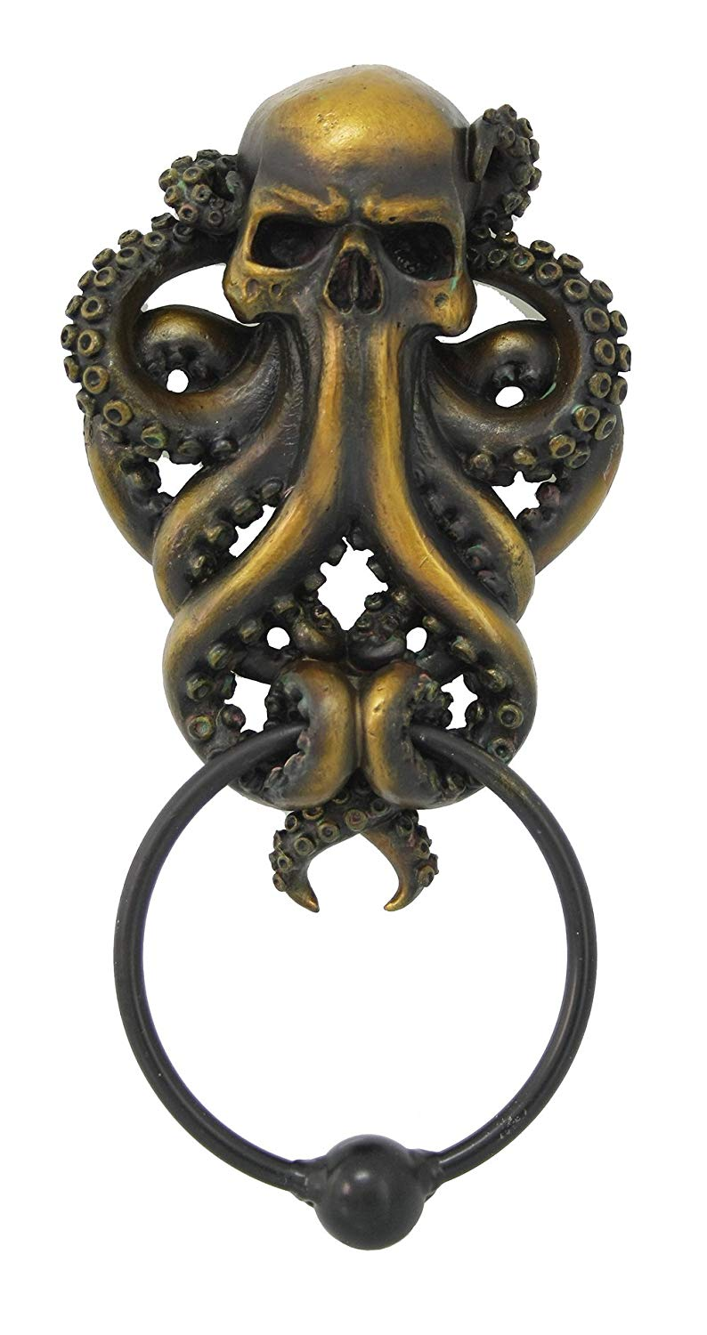 ... Decorative Octopus Skull Monster Resin Door Knocker With Cast Iron  Knocker Wall Sculpture