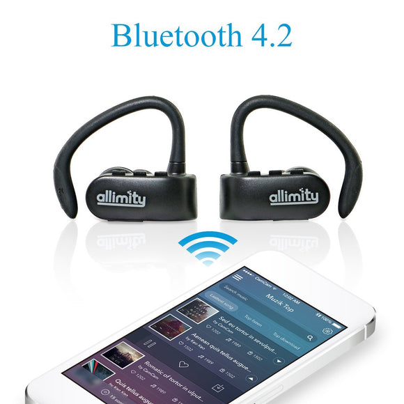allimity True Wireless Earbuds Bluetooth 4.2 Hifi Stereo Headphones Cordless Earphones Sweatproof In-Ear Headset with Mic Secure Fit for Sports