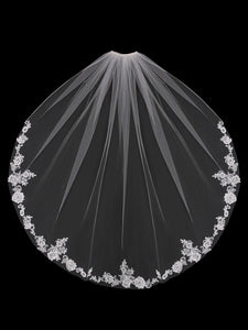 V1899SF Beaded Lace Single Tier Veil - Utah wedding accessories - Draper Bridal Store