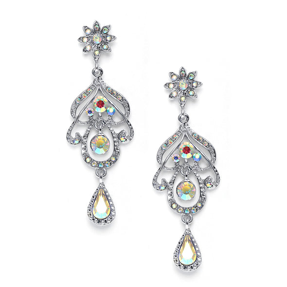 "Genuine Iridescent AB Crystal chandelier prom or bridesmaids earrings have a beautiful abstract design with a flower top & pear drop. These 2 5/8"" h silver rhodium special occasion earrings will adorn your formal dress at a fabulous price! chandelier earrings wholesale stunning silver stunning earrings bridal store wedding shop special sparkling #bridalearrings #weddingaccessories #utah #utahweddings #bridal #bride #formalearrings #bridalshop #wedding #earrings #brideaccessories"