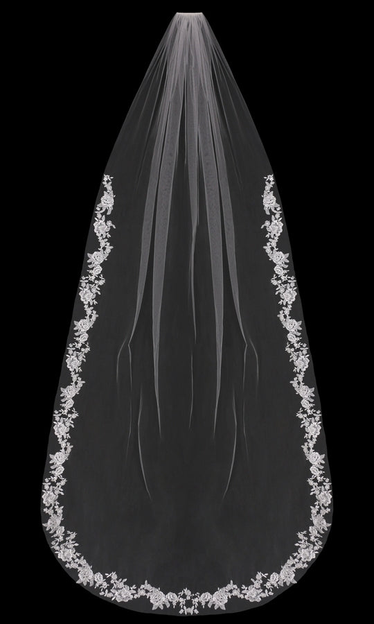 V1897C Beaded Lace Cathedral Veil - Utah wedding accessories - Draper Bridal Store