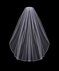 V01SW Satin Cording Single Tier Veil