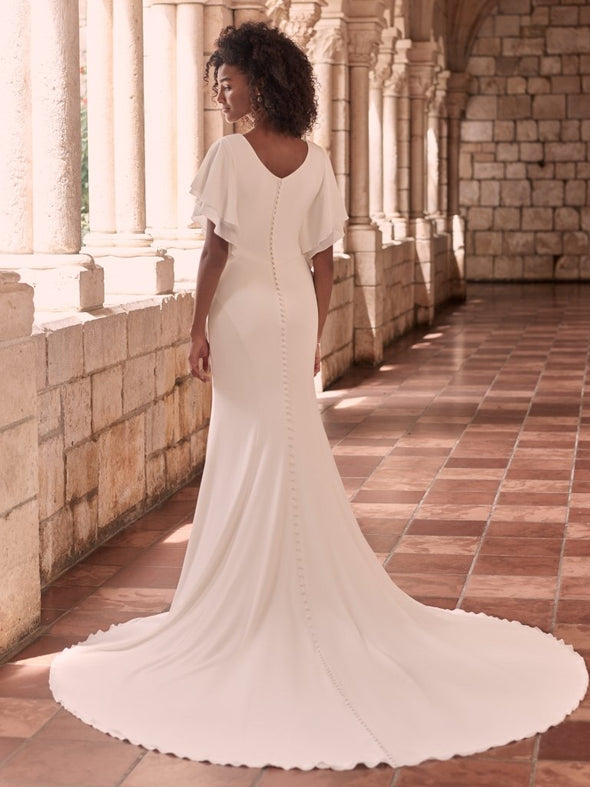 Maggie Sottero is one of the most recognized and sought after bridal gown manufacturers in the world. Blanca stretch chiffon modest v-neck draper utah wedding dress shop #utahbridalshop #weddinggowns #sandyutah #bridalcloset #brides #bridalshop #utahwedding #designerweddings #templeready #weddingaccessories #modestweddingdress