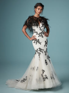 Maggie Sottero Ally with Cape
