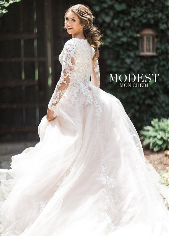 Modest Wedding dress both classic style and on-trend design, this collection of wedding dresses with sleeves honors your traditions, values and integrity. zipper back tulle skirt scattered sequin lace horsehair hem chapel train light airy tulle A-line #utahbridalshop #modestweddingdress #modest #longsleeves #bridalshop #bridalcloset #weddinggown #bride #lacegown #weddingdress #templeready